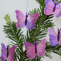 Purple Butterfly Decorations, Hanging Ornaments, Embroidered Butterflies