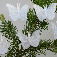 Frosty Butterfly Tree Decorations, White Butterflies, Embroidered Ornaments