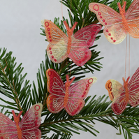 Red Butterfly Hanging Decorations, Embroidered Decor, Gold Butterflies