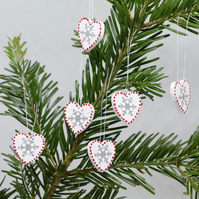 Scandi Heart Decoration, Swedish, Red White Nordic Style, Medium Snowflake, SALE