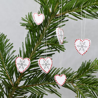 Swedish Heart Decorations, Nordic, Red White Scandi Style, Small Snowflake, SALE