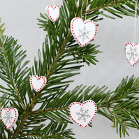 Nordic Wooden Heart Decorations, Scandinavian, Swedish, Large Snowflake, SALE