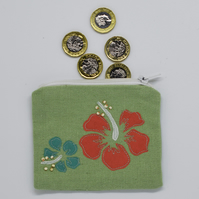 Tropical Flower Purse, Embroidered Purse, Coin Purse, Floral, Hibiscus