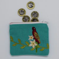 Turquoise Bird Purse, Parrot Purse, Embroidered Purse, Coin Purse, Tropical