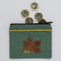 Autumn Leaf Purse, Maple Leaf, Coin Purse, Autumnal Leaves, Small Purse