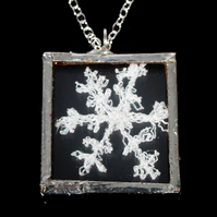 Snowflake Glass Necklace, Christmas Jewellery, White Snowflake, SALE