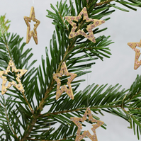 Glitter Star Christmas Decorations, Wooden Hanging Decorations, SALE