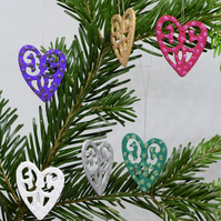 Glitter Heart Christmas Decorations, Wooden Hanging Decorations, SALE