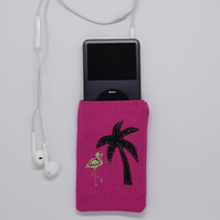 Flamingo Phone Case, iPod, Tropical Purse, Pink, Palm Tree, Embroidered