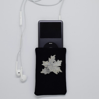 Gold Leaf Phone Case, Maple Leaf Purse, Black and Gold, iPod, Phone Cover, SALE