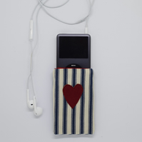 Heart Phone Case, Valentines Gift, Nautical Purse, iPod, Phone Cover, Love Heart