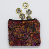 Autumn Wool Purse, Autumnal, Copper Coin Purse, Felted, Felt Purse, Gift For Her