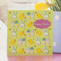 Happy Easter Card in Green