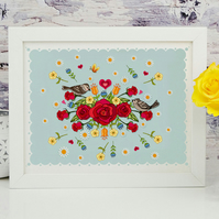 'Roses and Sparrows' A4 UnFramed Illustration Print