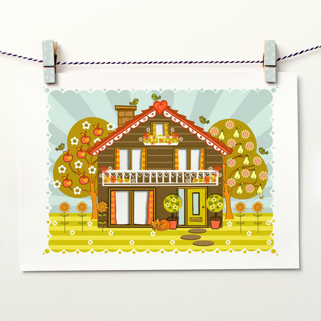 'Folk House' - A4 Unframed Print