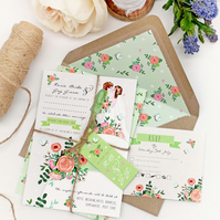 DIY Printable Wedding Stationery Set - Customised Wedding Cake Couple (Green)