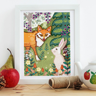 'The Fox and the Hare' - Illustration print - Woodland Themed Nursery Art