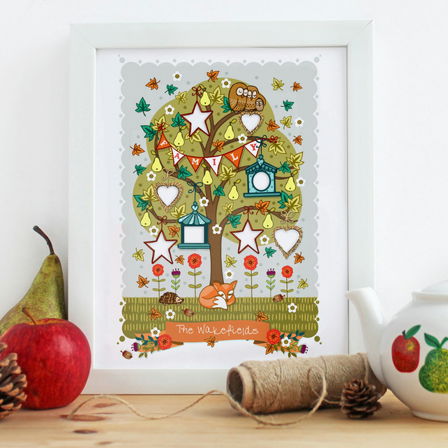PERSONALISED 'Autumn Family Tree' - A4 Unframed Print