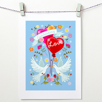 'Everlasting Love'  A4 unframed Print - CAN BE PERSONALISED