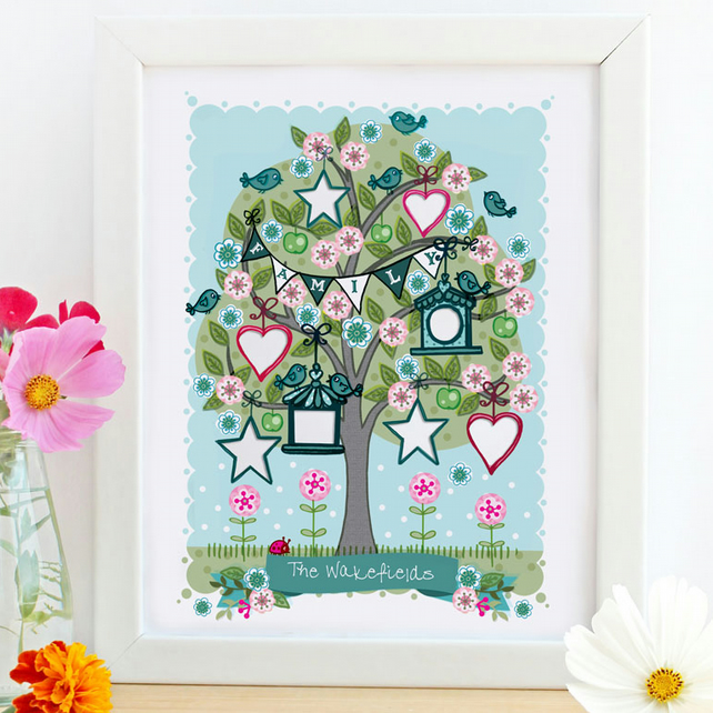 Personalised 'Spring Family Tree' Illustration Print, Nursery Wall Art