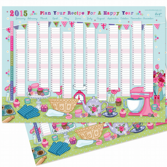 REDUCED TO CLEAR - 2015 Wall Planner - Baking