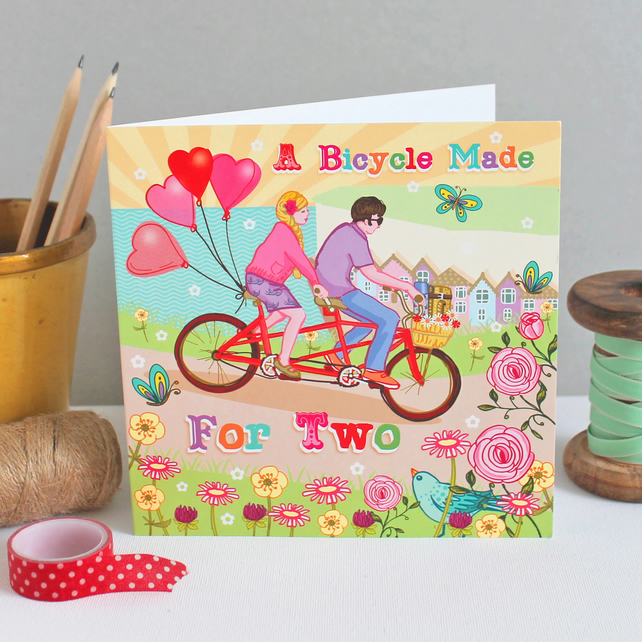 Bicycle Made for Two Valentine Card