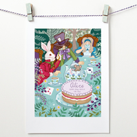 Time for Tea, Hatter's Tea Party - A4 Unframed Print - CAN BE PERSONALISED