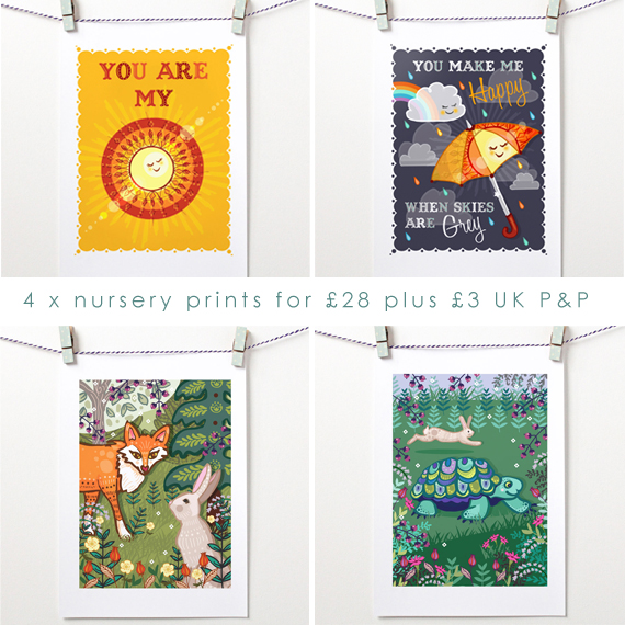 OFFER: 4 x Unframed Nursery Prints Multi-Buy - Sunshine Pack