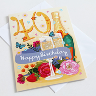 40th Birthday Card - Large, A5 (148x210mm)