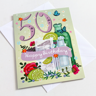50th Birthday Card - Large, A5 (148x210mm)