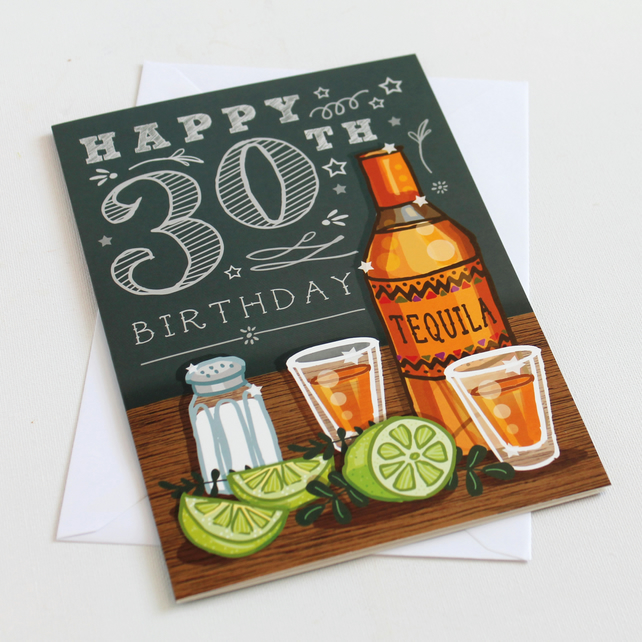 30th Happy Birthday Card  - Large, A5 - 148x210mm