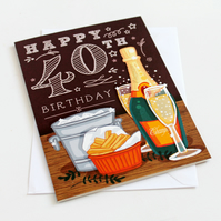 40th Happy Birthday Card - LARGE A5 (148x210mm)