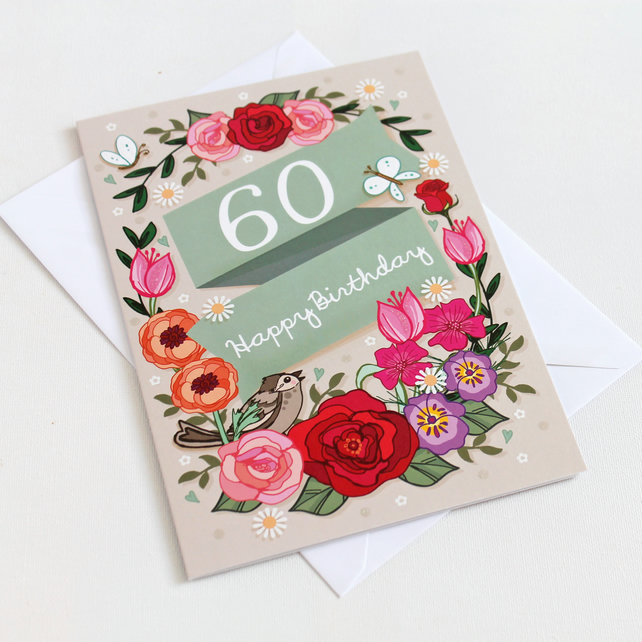60th Birthday Card - Large, A5 (148x210mm)
