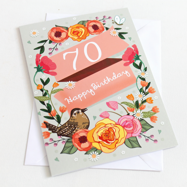 70th Birthday Card - Large, A5 (148x210mm)