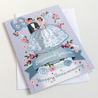 Diamond Wedding Anniversary Card - 60 years- Large, A5 (148x210mm)