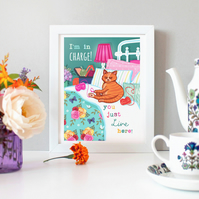 'I'm in Charge' - Cat Illustration Print - Wall Art - Gift for a Cat Lover