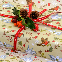 Gift Wrap 1 sheet and matching tag  - Deck The Halls