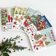 Pack of 6 - Tis The Season - Christmas Cards - 1 of 6 Designs