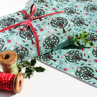 Christmas Gift Wrap single sheet - Partridge In A Pear Tree