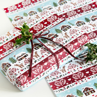 Christmas Gift Wrap Single Sheet - Christmas Lodges In the Snow