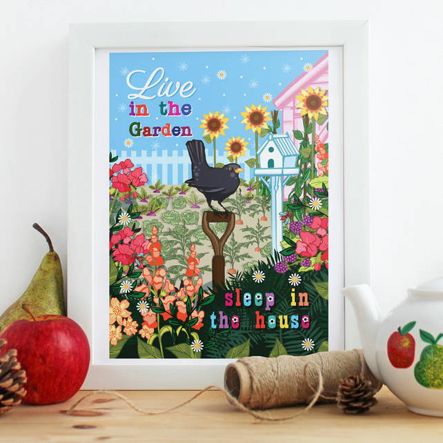 "'Live In The Garden' 10x8"" Framed Illustration Print"