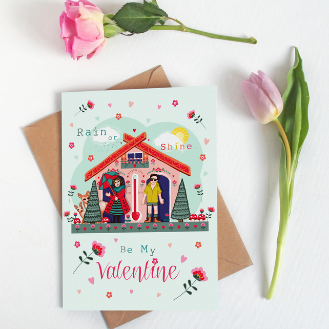 Rain or Shine Be My Valentine - Large, A5 sized Valentine Card