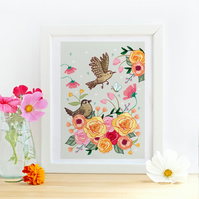 'Little Jenny Wren and Friend ' Illustration Print - Birds and Floral Wall Art