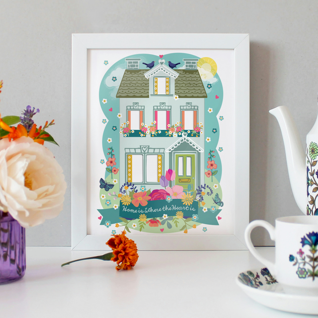 PERSONALISED 'Home is Where the Heart is' - '...Where Mum Is' A4 Unframed Print