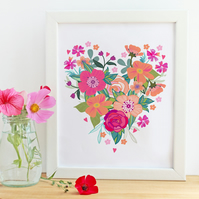 'Heart Blooms' A4 UnFramed Illustration Print
