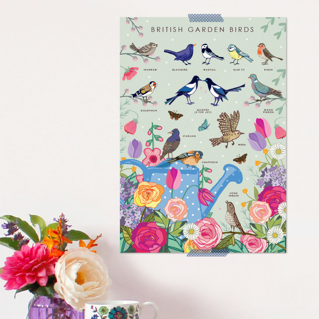 British Garden Birds Poster - Field Guide Poster - A3 sized