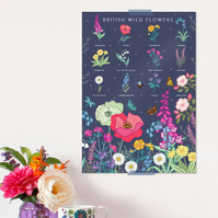 British Wild Flowers Poster - Field Guide Poster - A3 sized