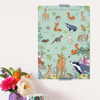 British Wild Animals Poster - Field Guide Poster - A3 sized