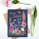 Happy Mother's Day, Large, A5 sized Navy Botanical Card