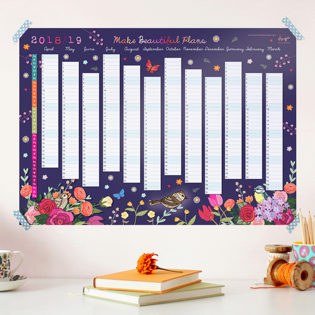 2018 to 2019 Wall Planner - Make Beautiful Plans (April 2018 to March 2019)